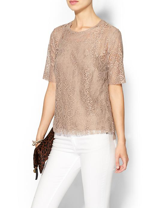 Piperlime collection raw edge lace tee