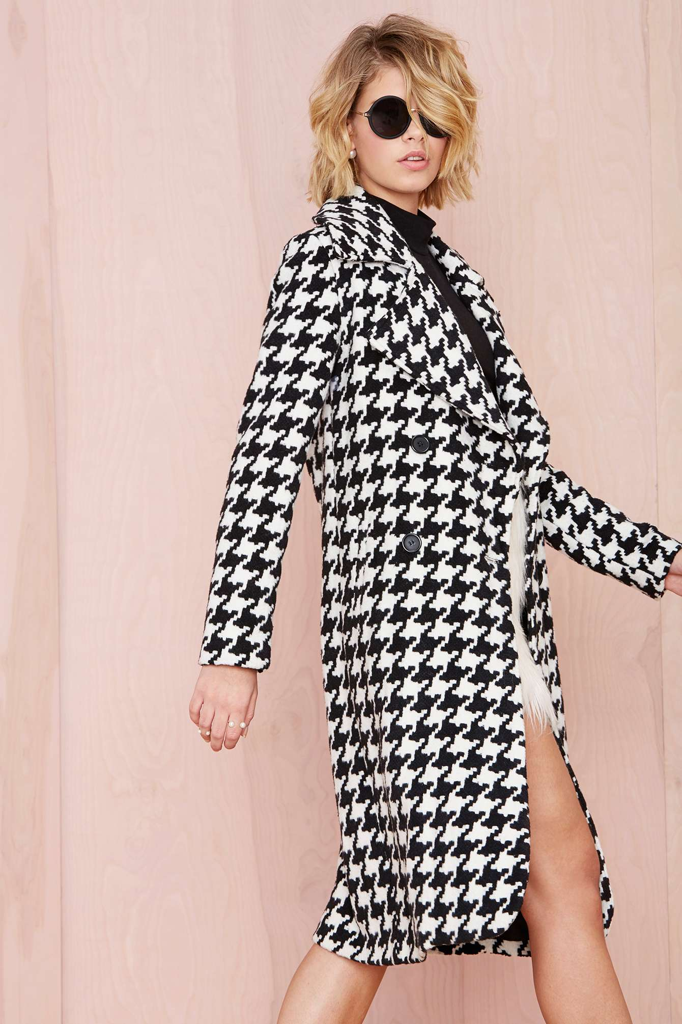 houndstooth coat, nasty gal reality check, fall fashion 2014