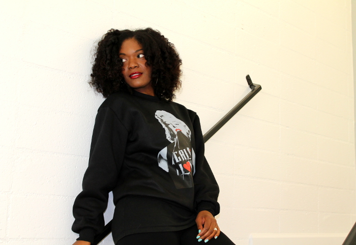 marilyn monroe sweatshirt-nasty gal remix boots-red laces-flexi rod curls-natural hair
