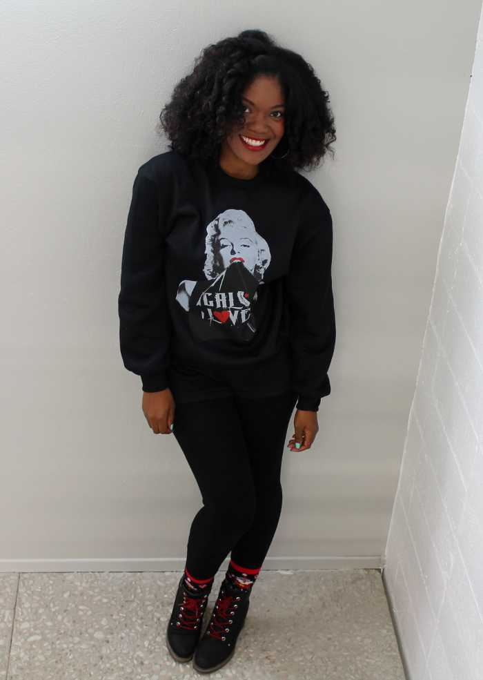 marilyn monroe sweatshirt-nasty gal remix boots-red laces-flexi rod curls