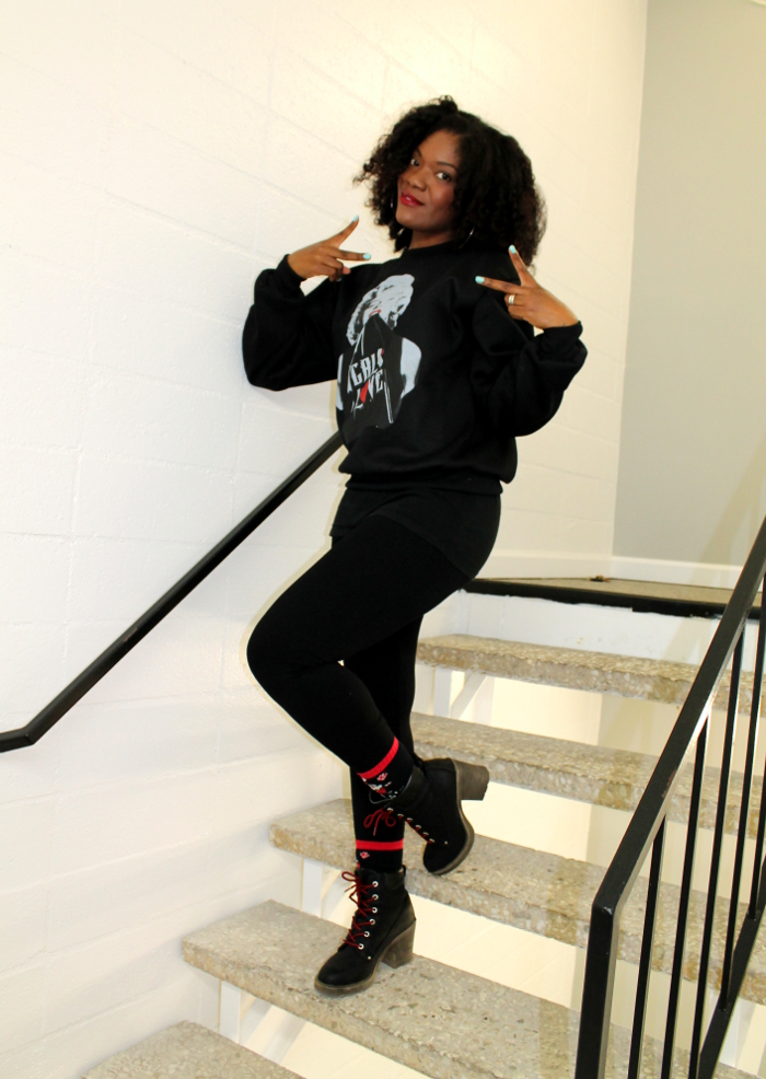 marilyn monroe sweatshirt-nasty gal remix boots-red laces