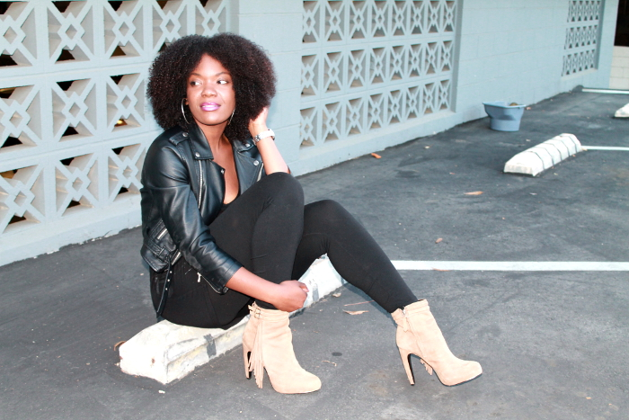 natural hair blogger-fringe boot trend-leather jacket