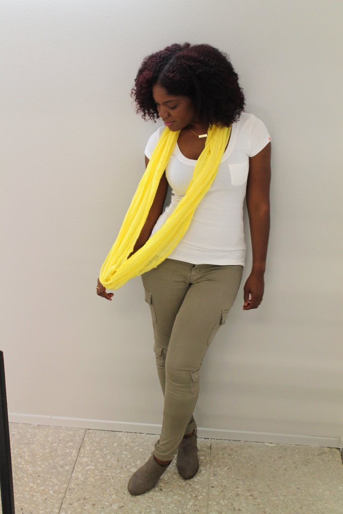 yellow summer scarf, natural hair