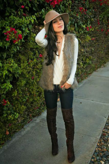 Blogger Honey Bee In Fur Vest 70s Trend