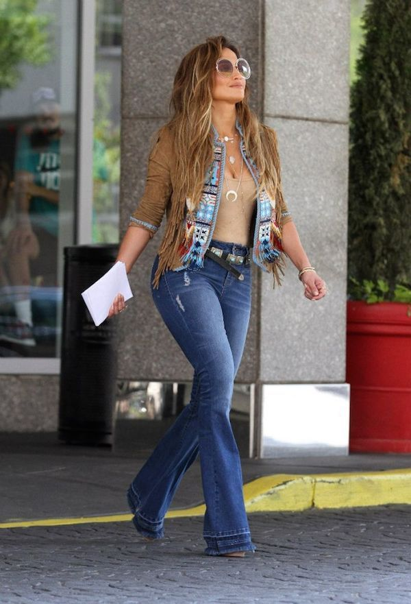 Jennifer Lopez Flared Denim 70s Trend