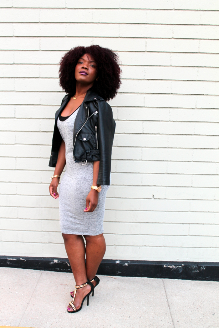 Grey Layered Dress & Leather Jacket
