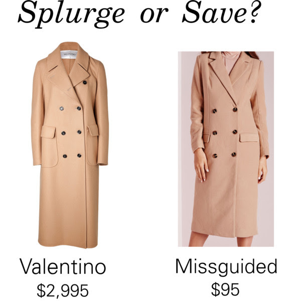 Save or Splurge?: Double Breasted Wool Coat by Valentino & Missguided