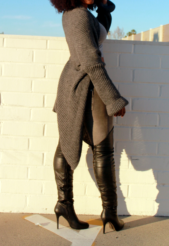 Winter outfit - Duster sweater & over the knee boots