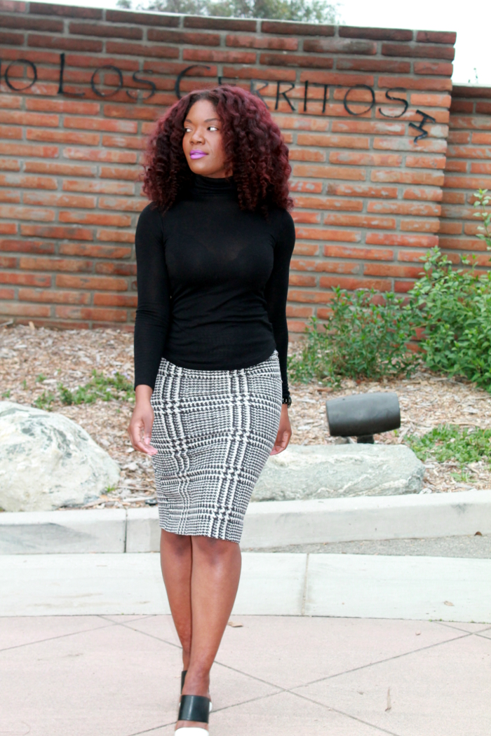 Black Turtleneck & Houndstooth skirt