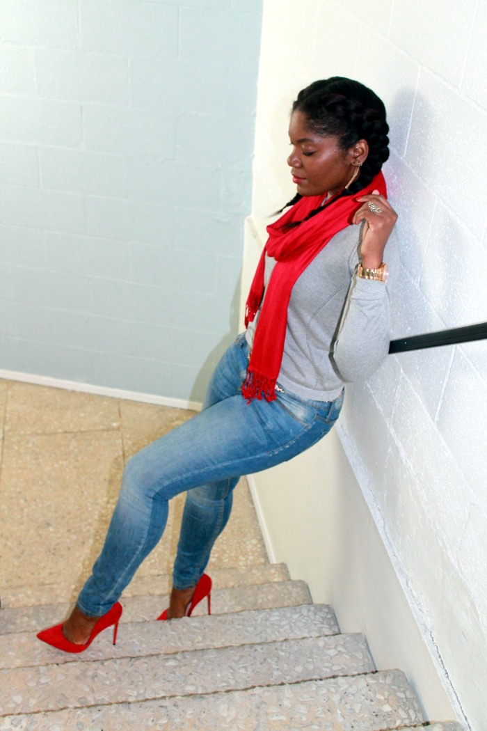 Blue jeans and red pumps - natural hair braided style