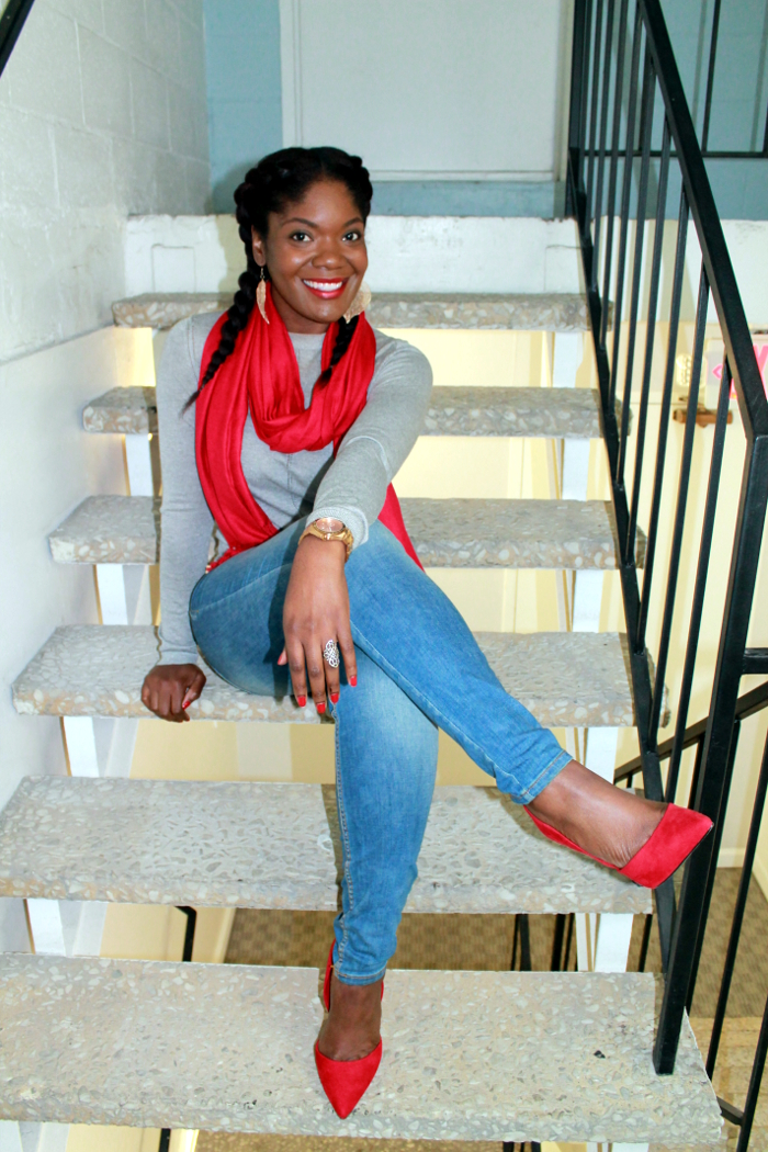 Red pumps and red scarf - outfit inspiration