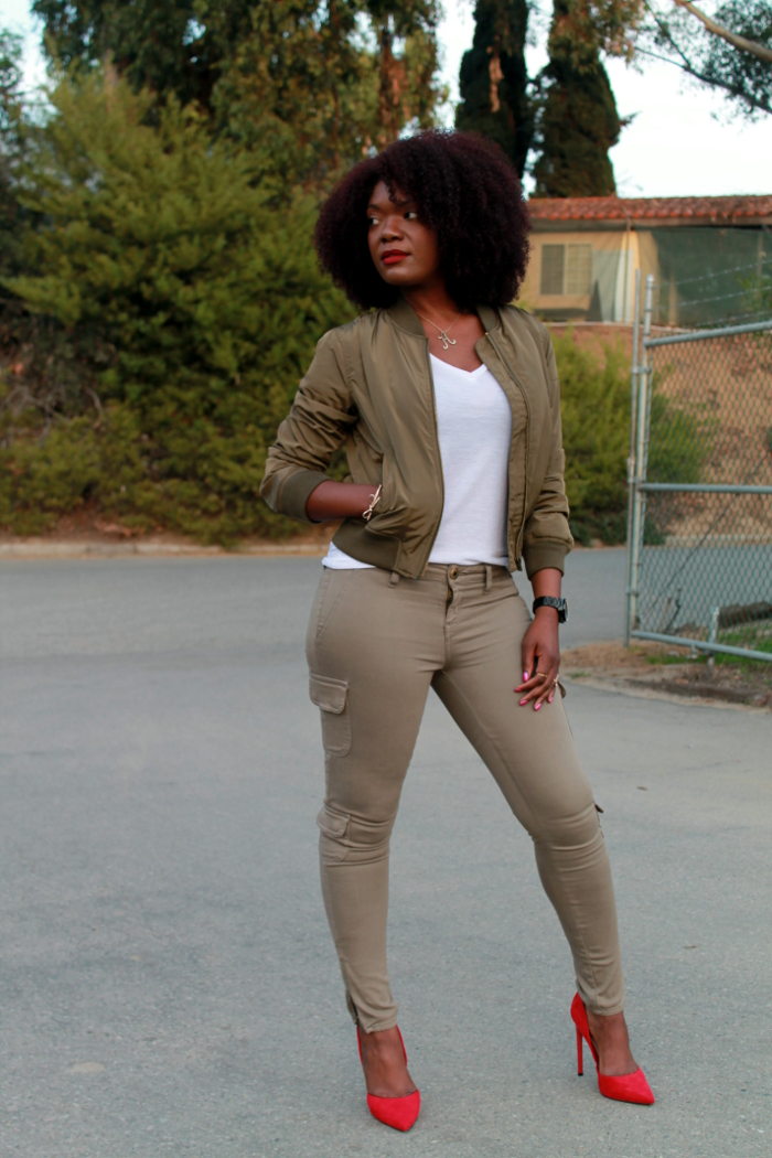Olive green bomber jacker outfit