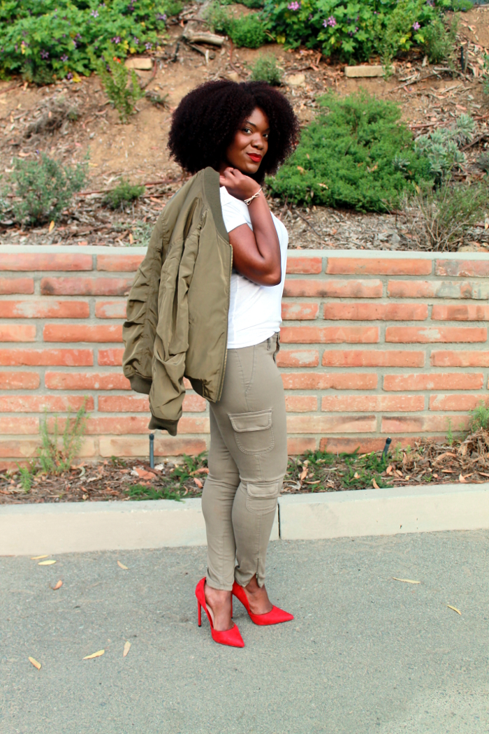 Olive Green Outfit Of The Day: Outfit Of The Day: Olive Green Bomber Jacket & Cargo Pants