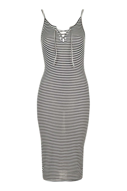 Topshop Striped Midi Dress