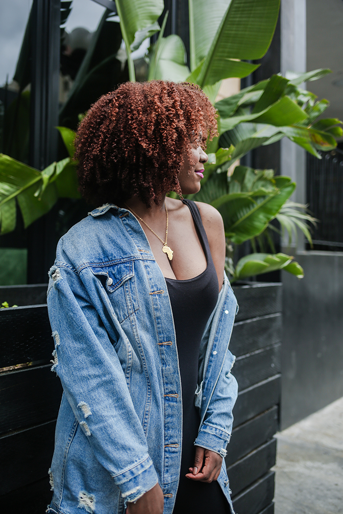 oversized denim jacket-natural hair blogger