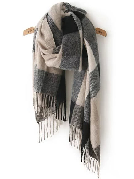 Romwe Plaid Scarf