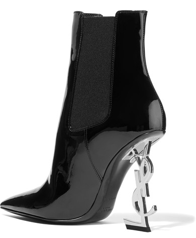 Saint Laurent Patent Leather Ankle Boots Logo Heels 2.jpg
