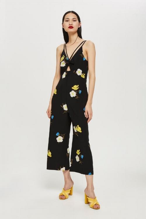 Topshop Yellow Floral Print Jumpsuit