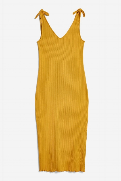 Topshop Tie Top Lettuce Bodycon Dress