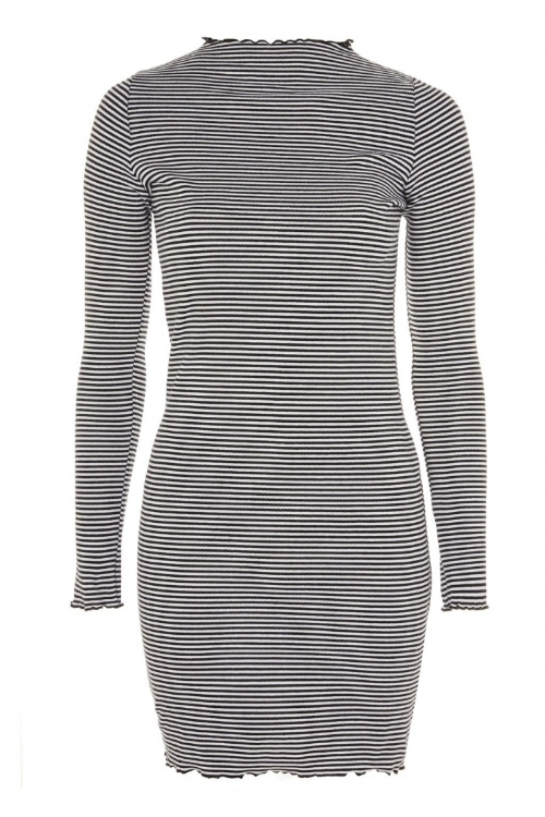 Stripe Frill Edge Bodycon Dress