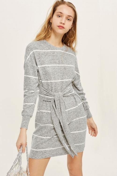 Topshop Stripe Cut and Sew Mini Dress