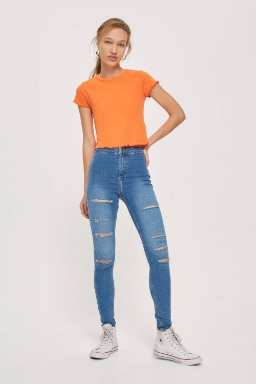MOTO Mid Blue Super Ripped Joni Jeans