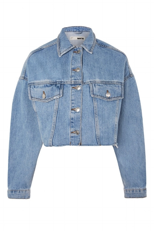 MOTO Hacked Off Crop Denim Jacket