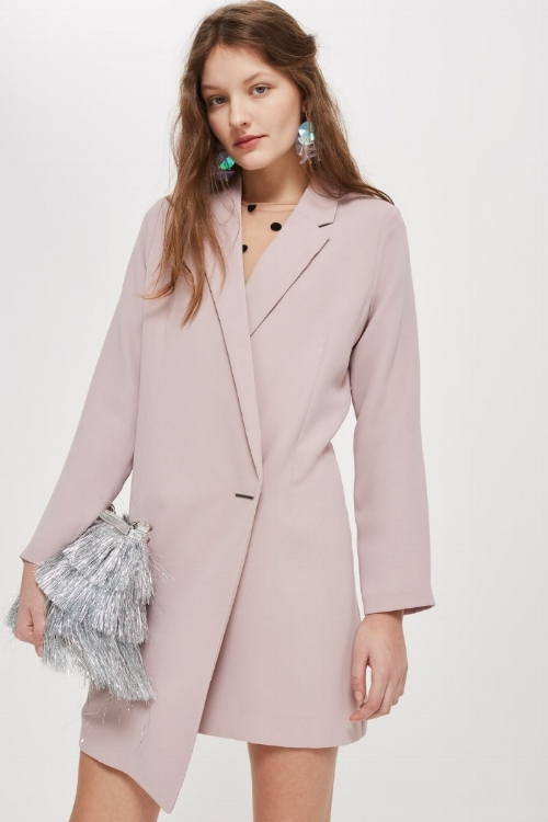 Asymmetric Hem Blazer Dress