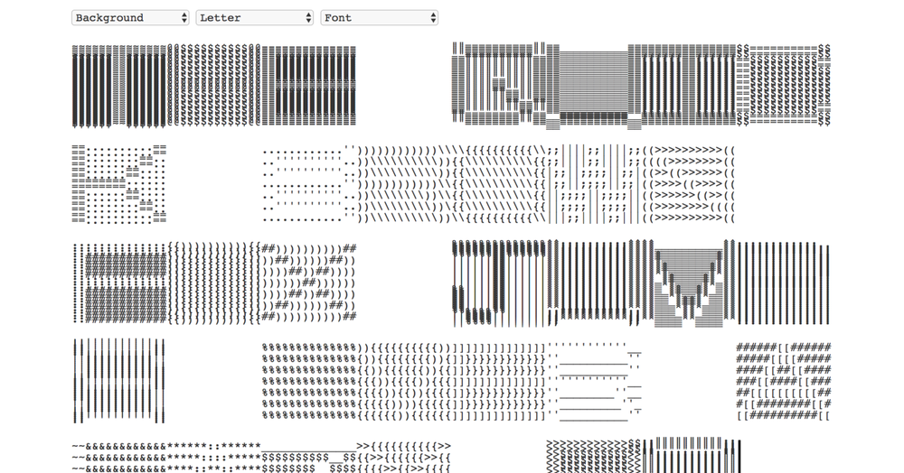 Ascii Typewriter - Ascii typewriter is a website that enables users to explore and customize letterforms. I created the original concept, conducted user research & testing, and collaborated with an engineer to launch this tool. This project was awarded the Core 77 Design Awards 2017 under the visual communication design category.