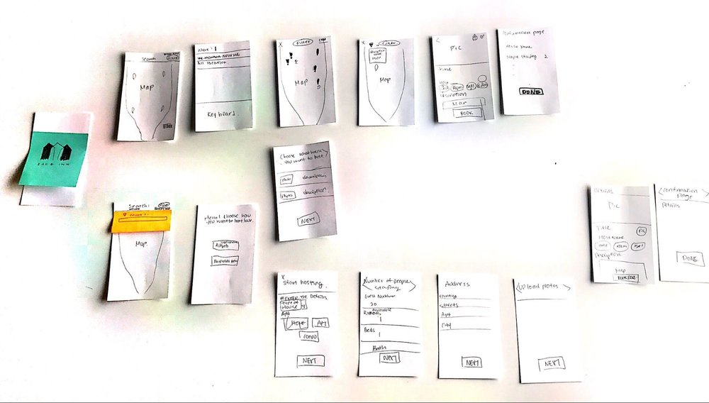 Prototype1 - Quick sketches of main screens of the app. After taking another user testing, we iterated the prototype and the flow
