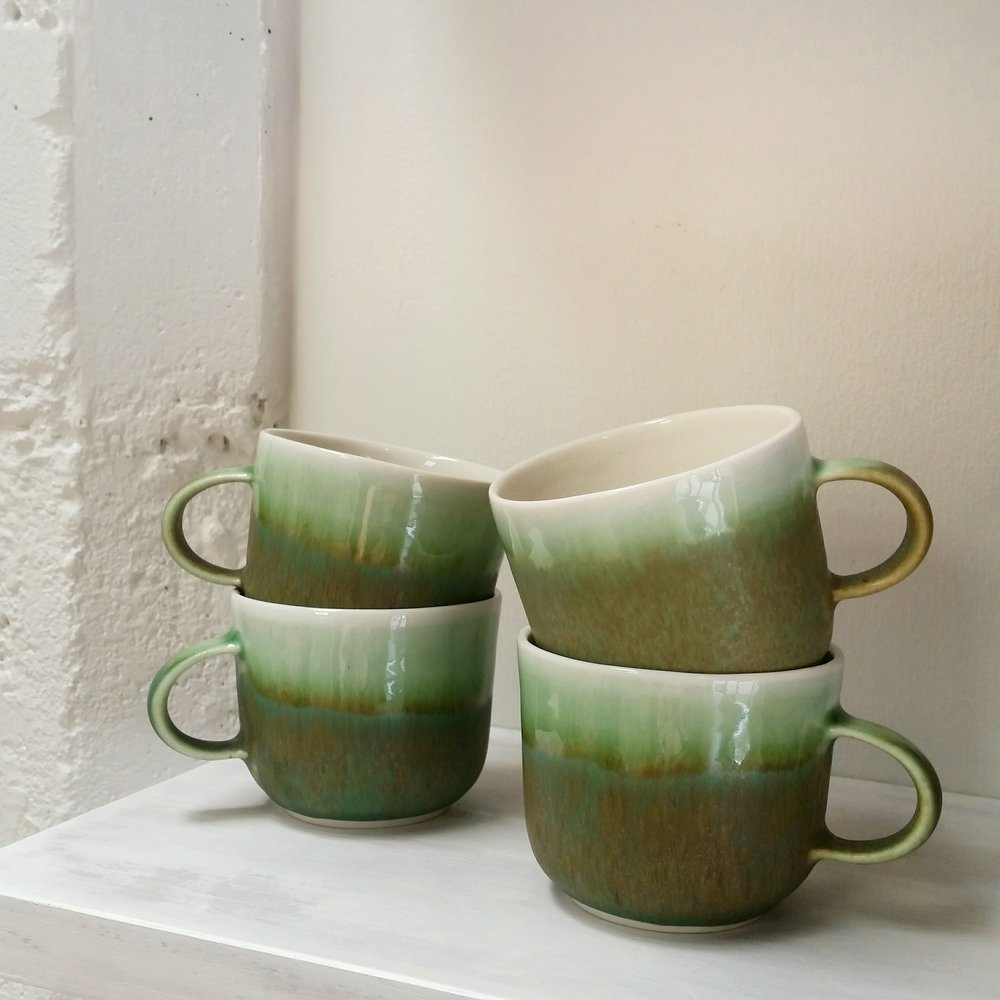 Three Cups of Tea - small green cups