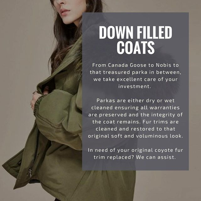 Down filled coats. From Canada Goose to Nobis to that treasured parka in between, we take excellent care of your investment. . Parkas are either dry or wet cleaned ensuring all warranties are preserved and the integrity of the coat remains. . Fur trims are cleaned and restored to that original soft and voluminous look. . In need of your original coyote fur trim replaced? We can assist. . Free pick up and delivery, same day service. Contact us today. . . . . #dryclean #toronto #Tdot #Torontolifestyle #lifestyle #fashion #yyz #nobis #executive #laundryday #formalwear #dressup #business #bespoke #service #drycleanonly #drycleaningservice #the6six #dapperstyle #mensclothing #womensclothing #downfilled #alterations #ootd #winter #laundryservice #laundryday #canadagoose #forevernew #timesaver
