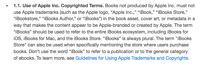 "Apple's rules regarding ""copyrighted terms,"" by which they mean ""trademarked terms."""