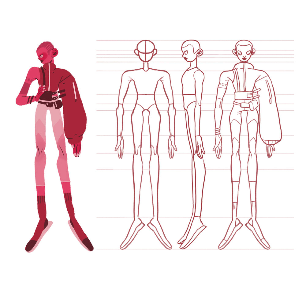 "This is the character sheet for my final film at Sheridan College.  I designed this character as a ""human being"" in general, so he/she is kind of a combination of all genders and races. I was aiming to create a character that can represent me, you, and everyone else.  The whole story is a bit abstract. I tried to express the sense of loneliness and isolation when someone is seeking for something in the spiritual world, and he/she finally find himself/herself."