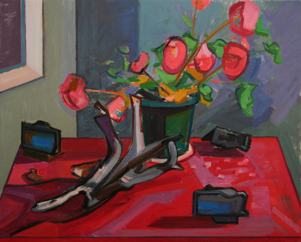 Still Life with Geranium and Burned Wood,  oil on canvas