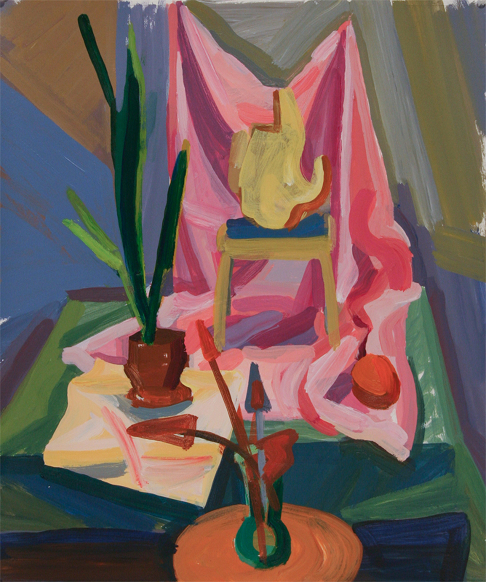 Composition with Pink and Green Drapes, acrylic on paper