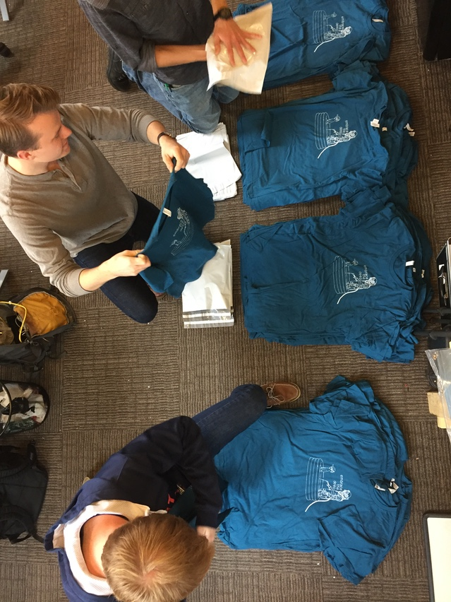 Behold - Fathom's low-volume fulfillment services (i.e. the team taking a break from development to pack everyone's shirts)