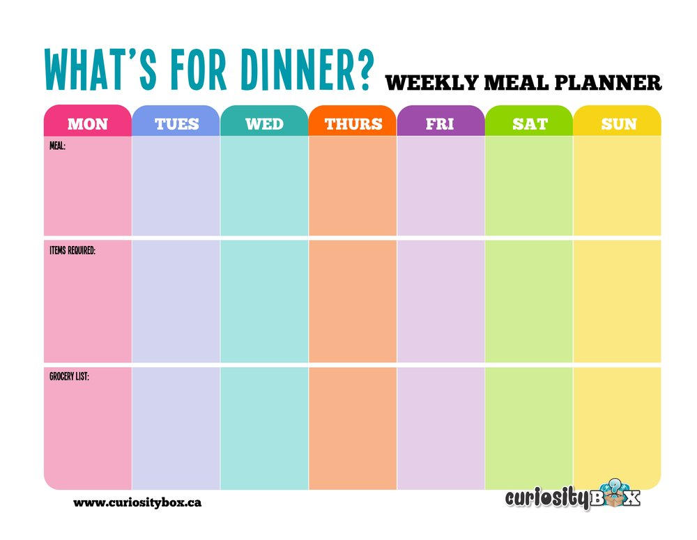 Meal Planner No Lines