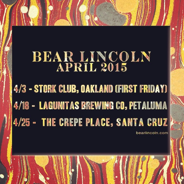 Thanks to the folks who came out to our show at the @shadowultralounge. Our upcoming shows for the month of April are listed below: 4/3 #TheStorkClub with @funktopusmusic and @sweetplotmusic. First Friday show, No cover, show starts at 5:30, Bear Lincoln hits the stage 8:30 and music wraps up by 9:30. 4/18 at @lagunitasbeer in Petaluma. 3 to 6pm - No cover. 4/25 at @thecrepeplace in Santa Cruz with @getawaydogs. Doors at 8, Show at 9, $8 at the door.