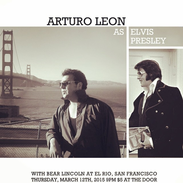 Did you know? There are upwards of 85,000 Elvis impersonators around the world. Looking for another reason to come to tomorrow night's show in San Francisco? Well here it is: Bear Lincoln will be joined by Arturo Leon, who will don his finest jumpsuit and dance moves as the King of Rock'n'Roll, Mr. Presley himself. What songs should we play with Arturo as Elvis? Let us know! P.S. just kidding we've already chosen and practiced 3 songs but it would be fun to hear your suggestions.