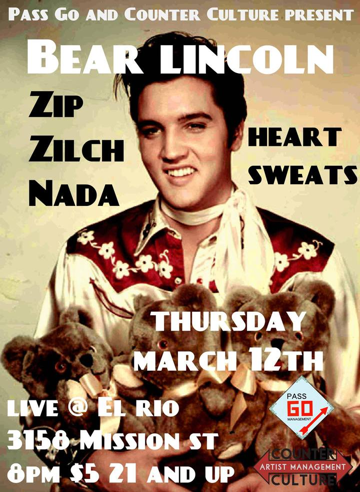 Just Announced! Bear Lincoln @ El Rio in San Francisco, CA - March 12th