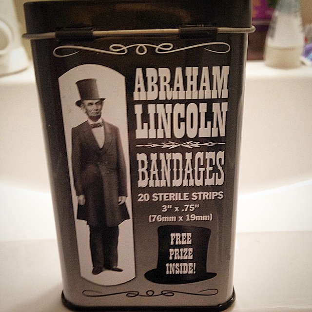 Free prize inside - a single strand of Honest Abe's luxurious beard included with every bandage!