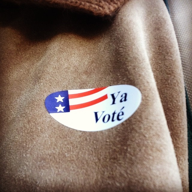 Free sticker giveaway!! They're giving away free stickers at the polling place! But you've gotta hurry! They close at 8pm! #yavote