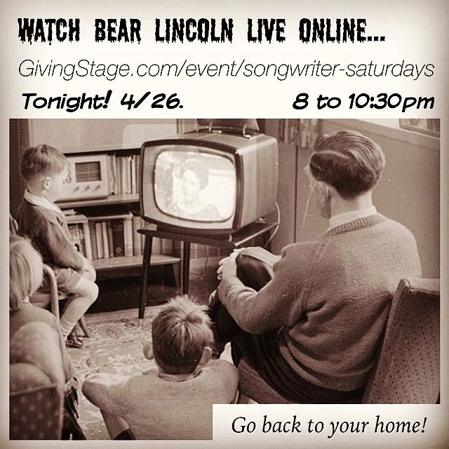 Watch Bear Lincoln live online.. GivingStage.com/event/Songwriter-Saturdays - Tonight! 4/26, 8 to 10:30 pm. Go back to your home! Or come to SF's EXIT theater!  (at Exit Theater San Francisco)
