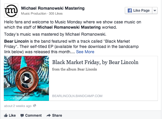 Post  by  Michael Romanowski Mastering .   Thanks Michael for sharing the Bear Lincoln EP!