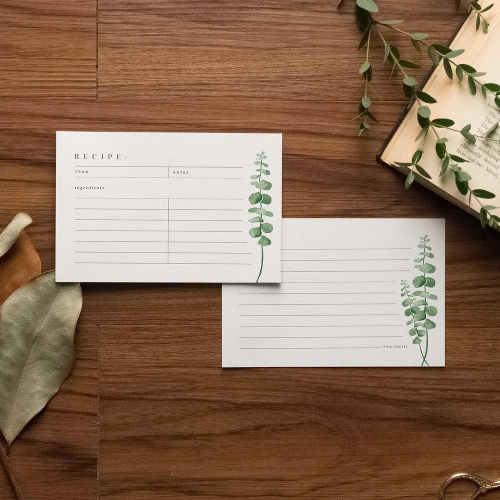 Eucalyptus Recipe Cards - Starting at $8.00