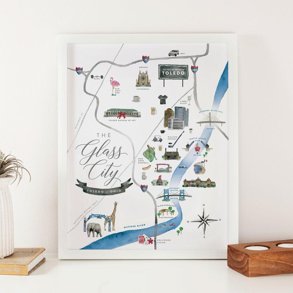 Toledo, Ohio Watercolor Map Print - Starting at $24.00