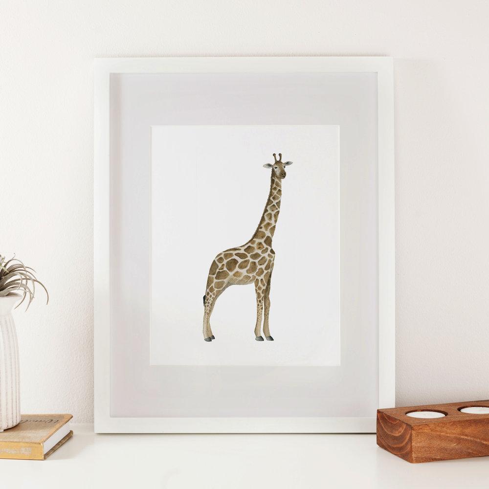 Giraffe Watercolor Print - Starting at $18.00