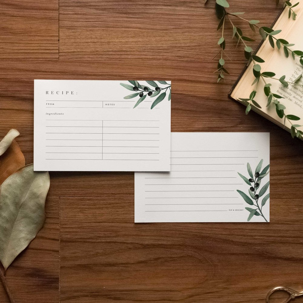 Olive Branch Recipe Cards - Starting at $8.00