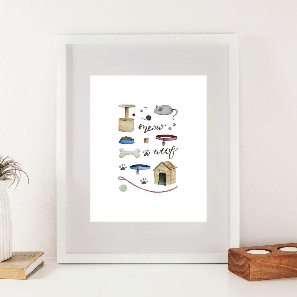 Pet (Cat & Dog) Accessories Print - Starting at $24.00